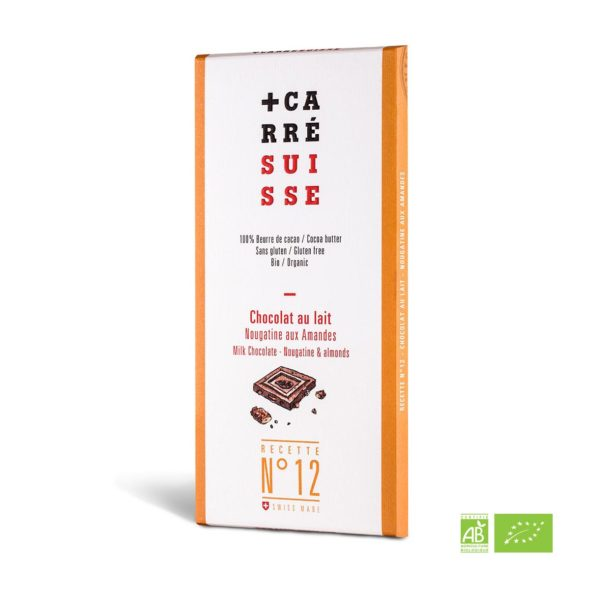 ORGANIC - Milk, Nougatine & Almonds Chocolate - 100g bar - 10/cs