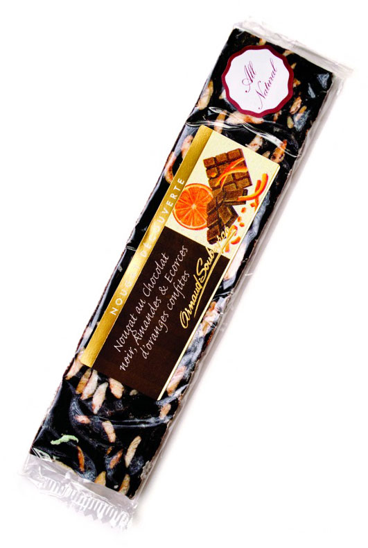 Chocolate Nougat Bar With Orange Peel - 100g/3.5oz - AS554