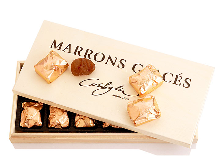 Marron Glace 12 Pcs - Wooden Box - Vacuum Packed in a Gold Foil - CO755