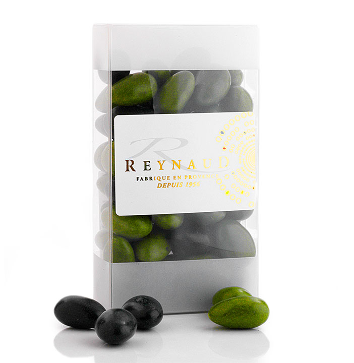 Black & Green Olives - Chocolate covered almonds - 250g/8.8oz - 12/cs