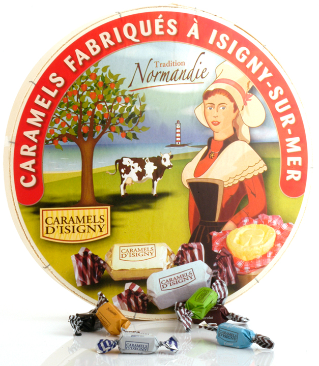 "Large ""Camembert"" wood box - Caramels in 9 flavors 750g/1.65lbs."