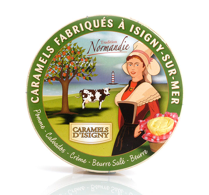 "Camembert wood box - Caramels ""Normandie"" 150g/5.3oz"