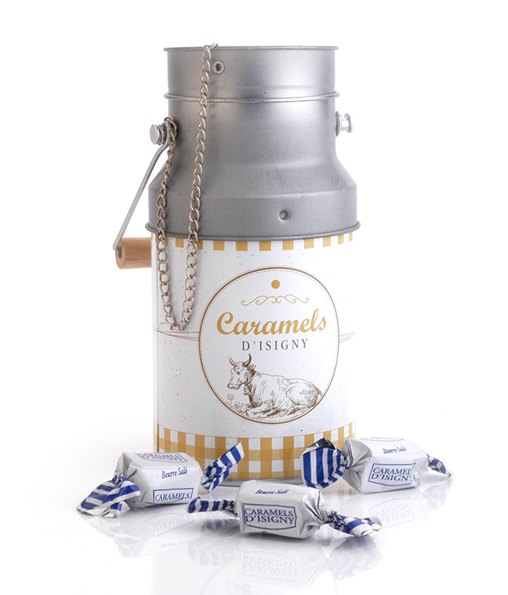 Large Milk can tin - Salted Butter Caramels 180g/6.35oz - 12/cs
