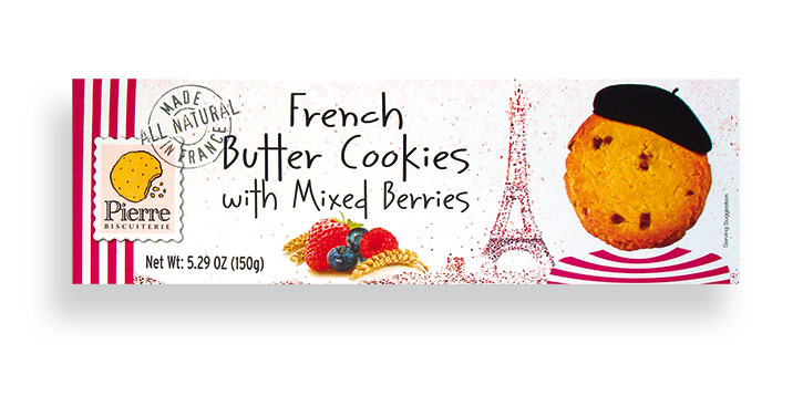 Mixed Berries French Butter Cookies 150g/5.29oz - 10/cs - A3732